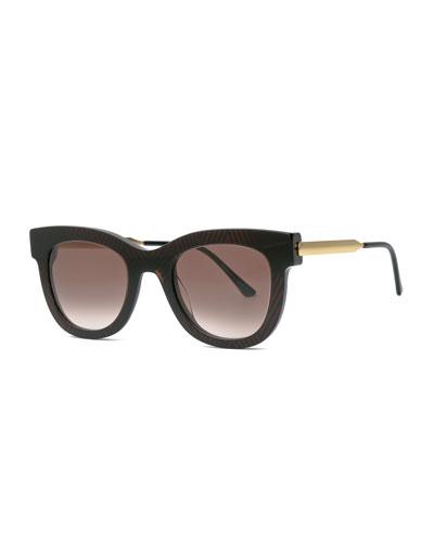 Rounded Square Chevron Sunglasses, Brown