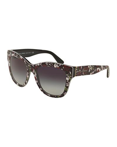 Square Floral-Print Sunglasses, Black/Rose