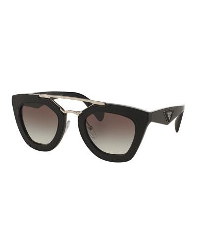 Embossed Square Brow-Bar Sunglasses