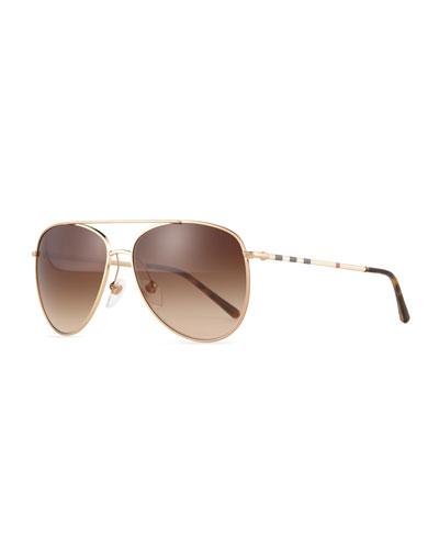 Check Aviator Sunglasses, Golden