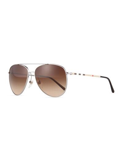 Check Aviator Sunglasses, Gunmetal
