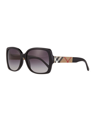 Gradient Check-Temple Square Sunglasses, Black