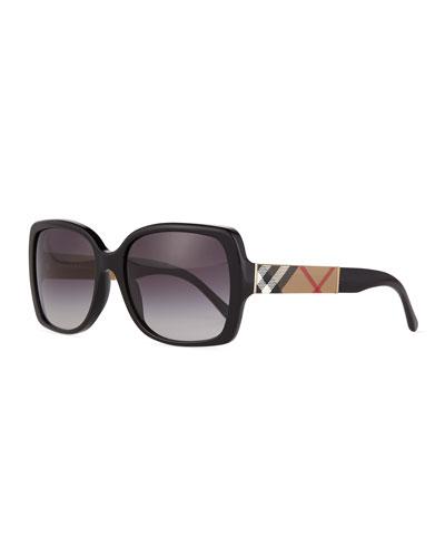 Gradient Check-Temple Square Sunglasses, Black