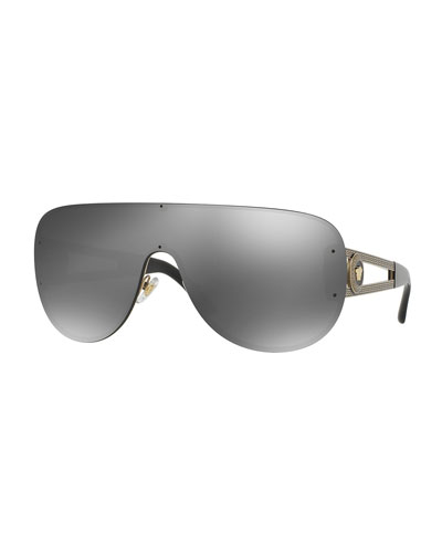 Mirrored Greek Key Shield Sunglasses, Gold/Black