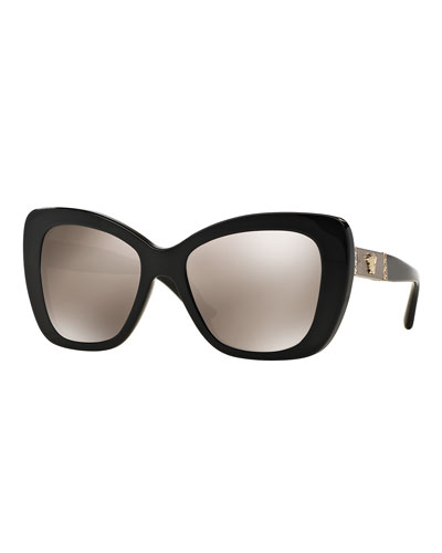 Mirrored Oversize Cat-Eye Sunglasses, Black