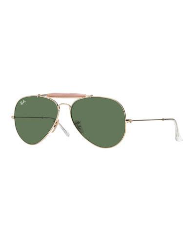 Metal Aviator Sunglasses, Gold/Green