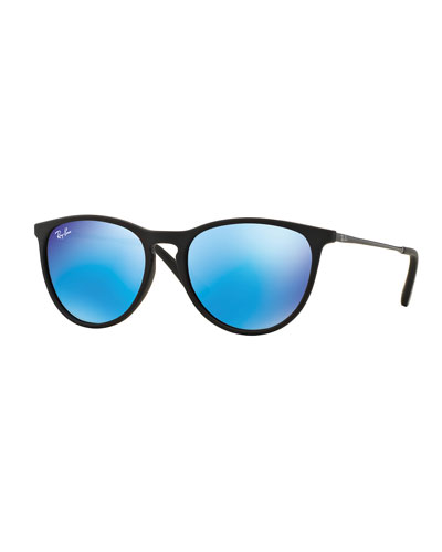 Junior Mirrored Iridescent Sunglasses, Matte Black