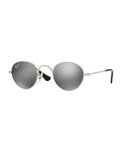 Junior Mirrored Round Sunglasses, Silver