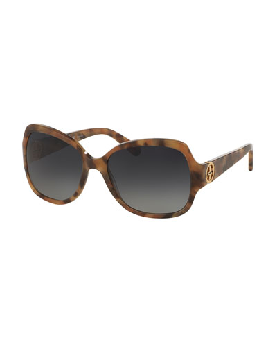Polarized Squared Butterfly Sunglasses, Brown/Pink
