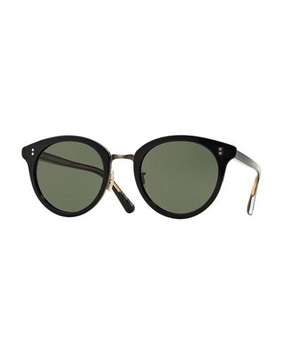 Spelman Square Sunglasses, Black/Pewter