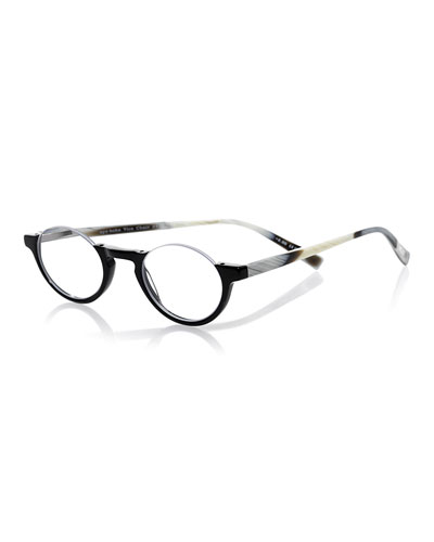 Vice Chair Semi-Rimless Acetate Readers, Black/Horn