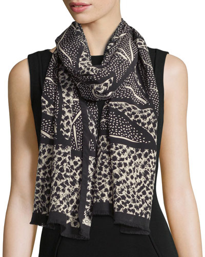 Bicolor Leaf-Print Scarf, Black/Cream