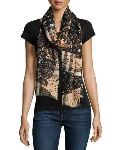 Lace Patchwork Gauze Scarf, Camel/Black