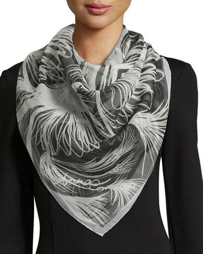 Majorelle Classic Silk Square Scarf, Black/White