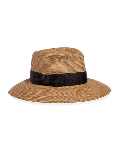 Phoenix Woven Boater Hat, Natural/Black