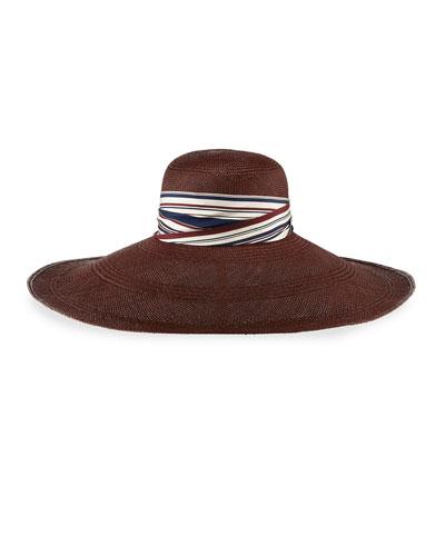 Super Super Wide Panama Straw Hat, Oxblood