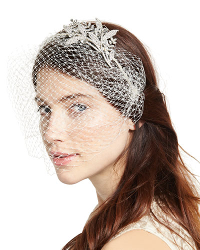 Isabelle Voilette Headband with Veil, Cream