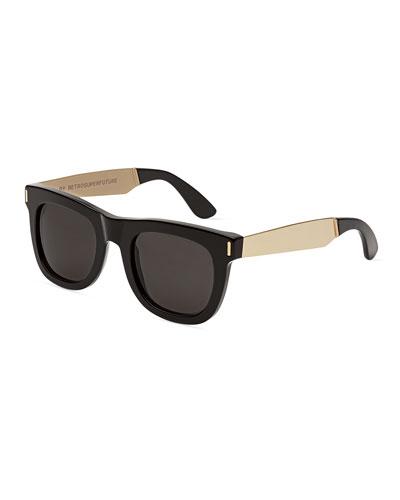 Ciccio Francis Square Metal-Trim Sunglasses, Black/Gold
