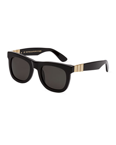 Ciccio Gianni Square Metal-Trim Sunglasses, Black/Gold