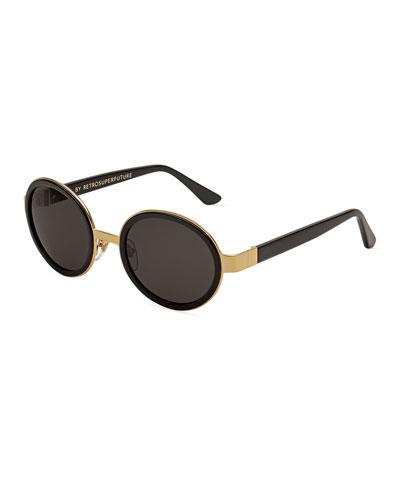 Santa Round Monochromatic Sunglasses, Black