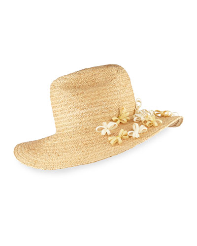 Buttercup Western Straw Fedora Hat w/ Flower, Natural
