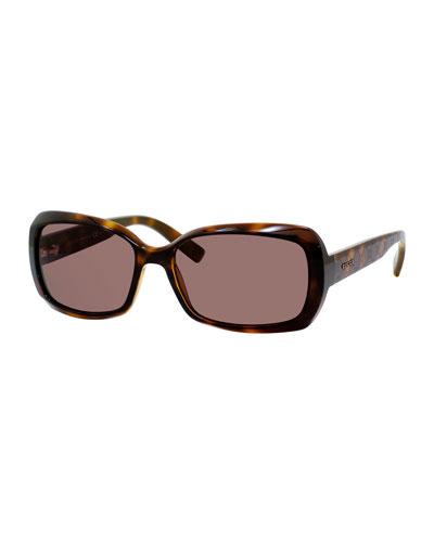 Embossed Square Acetate Sunglasses, Havana