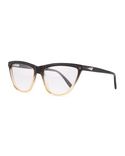 Cairo Ombre Cat-Eye Frames, Black/Cream