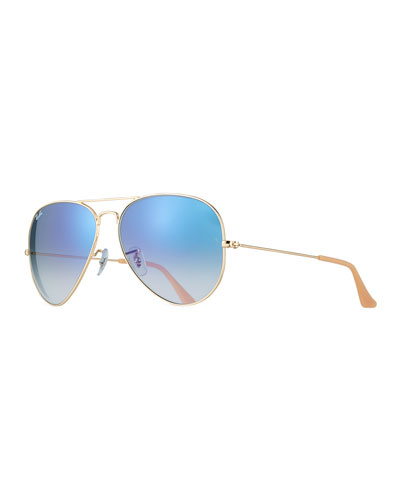 Gradient Aviator Sunglasses, Golden/Blue