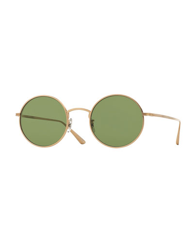After Midnight Round Sunglasses, Gold/Green