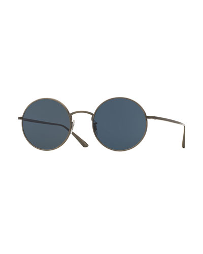 After Midnight Round Sunglasses, Pewter/Blue