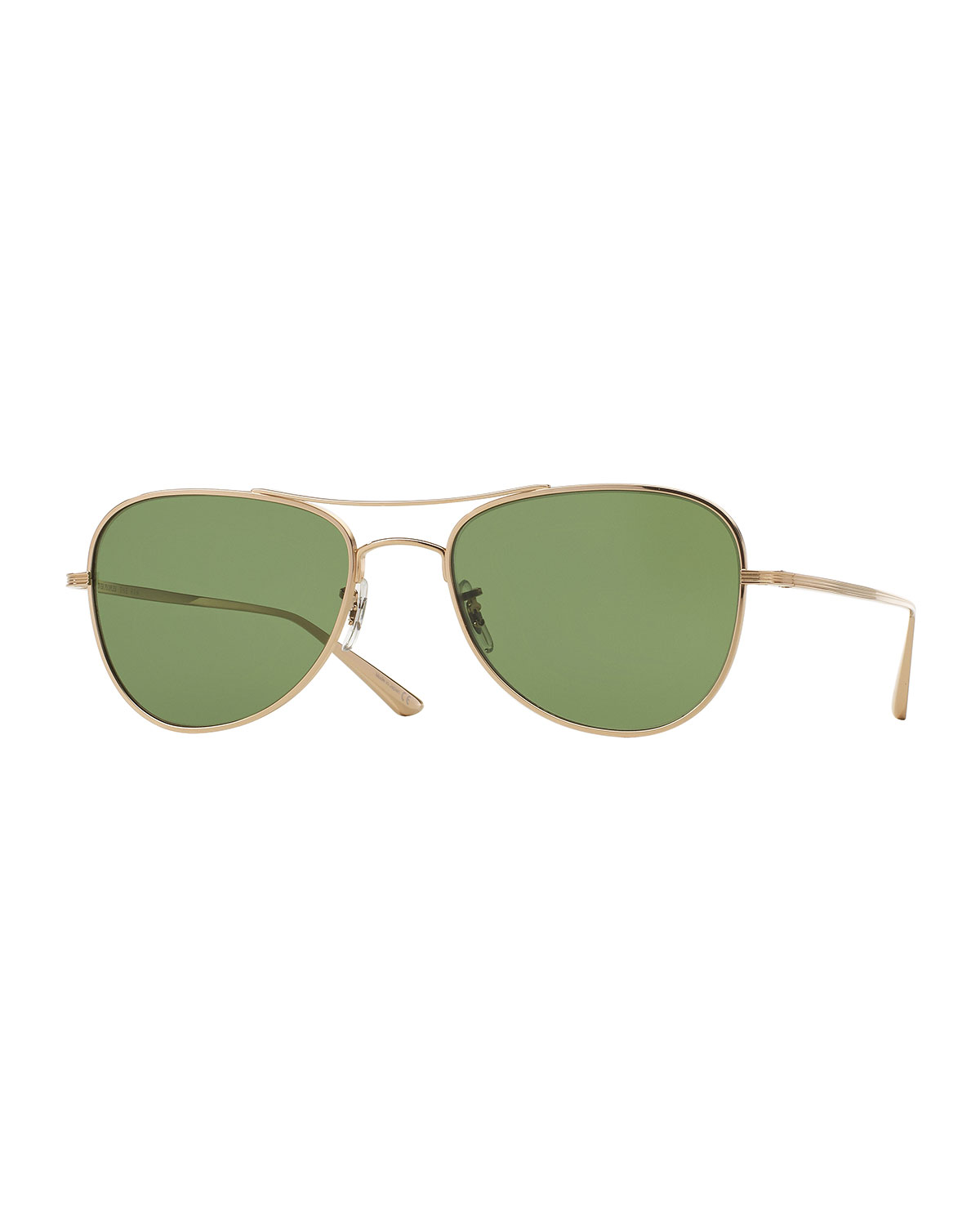 Oliver Peoples The Row Executive Suite Photochromic Aviator Sunglasses, Gold / Green