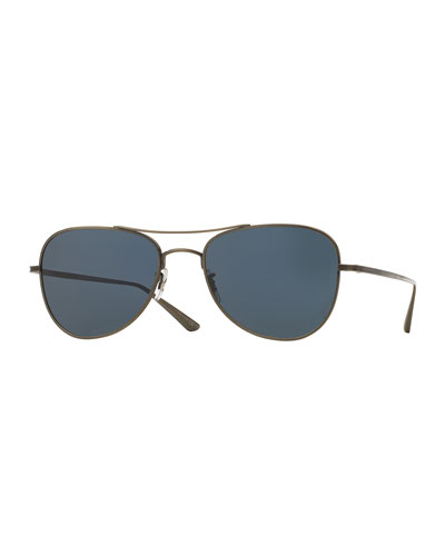 Executive Suite Photochromic Aviator Sunglasses, Pewter/Blue