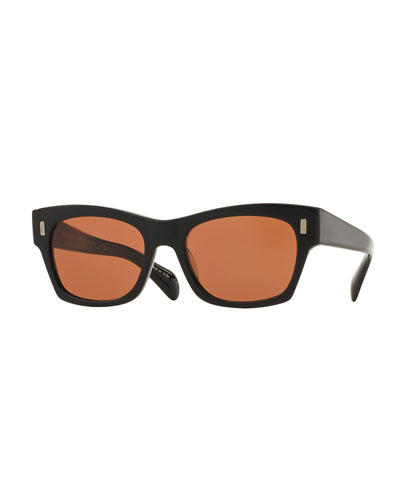 71st Street Square Sunglasses, Black/Persimmon