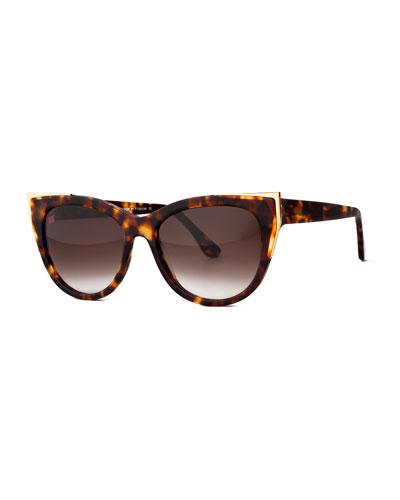 Epiphany Capped Cat-Eye Sunglasses, Havana