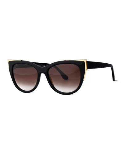 Epiphany Capped Cat-Eye Sunglasses, Black/Gold