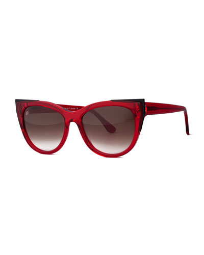Epiphany Capped Cat-Eye Sunglasses, Red