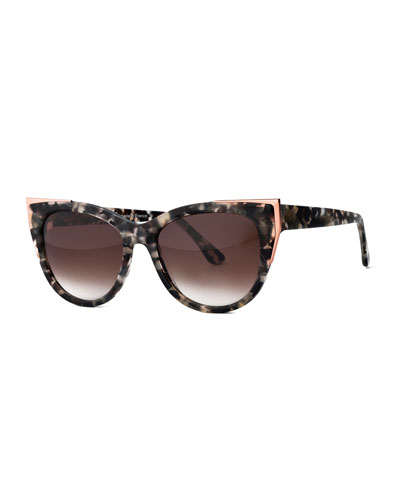 Epiphany Capped Cat-Eye Sunglasses, Gray/Tortoise