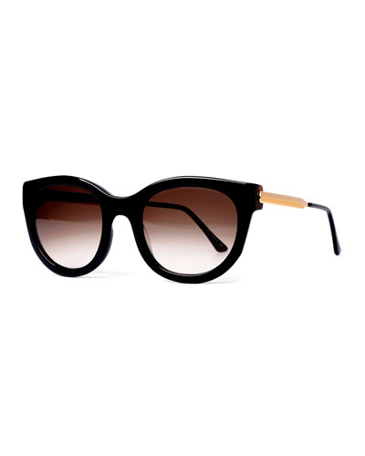 Lively Limited Edition Vintage-Pattern Square Sunglasses, Black
