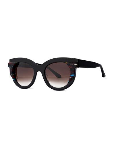 Slutty Vintage Gradient Square Sunglasses, Black