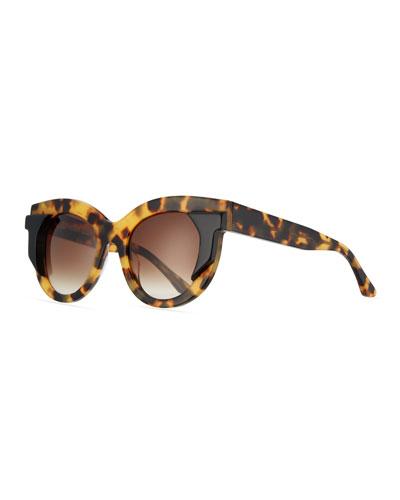 Gradient Square Sunglasses, Yellow Tortoise/Black