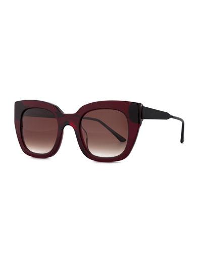 Swingy Gradient Square Sunglasses, Burgundy
