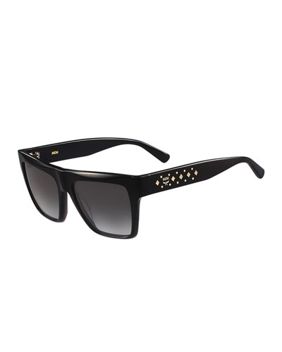 Studded Square Plastic Sunglasses, Black