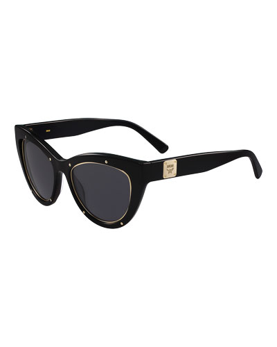 Trimmed Cat-Eye Logo-Temple Sunglasses, Black
