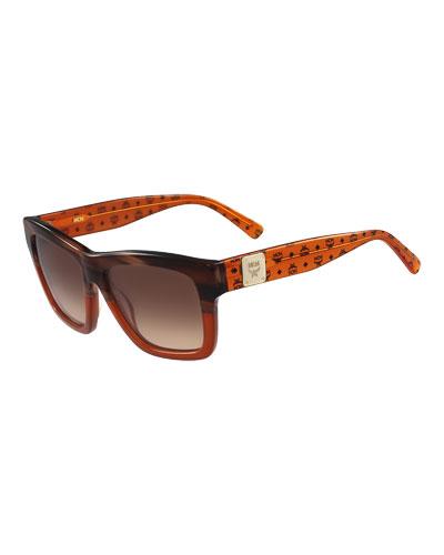 Printed Square Logo-Temple Sunglasses, Amber/Tan