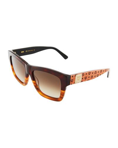 Printed Square Logo-Temple Sunglasses, Tortoise/Tan