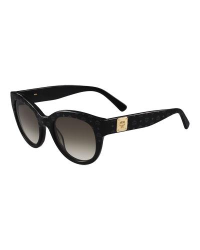 Printed Cat-Eye Logo-Temple Sunglasses, Black