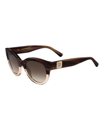Cat-Eye Logo-Temple Sunglasses, Tan/Clear