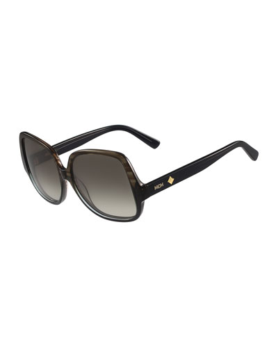 Gradient Square Ombre Drop-Temple Sunglasses, Brown/Gray