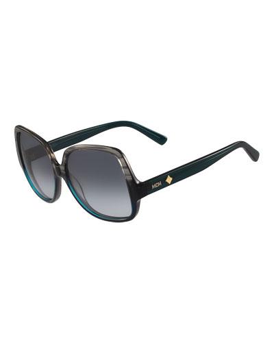 Gradient Square Ombre Drop-Temple Sunglasses, Gray/Teal