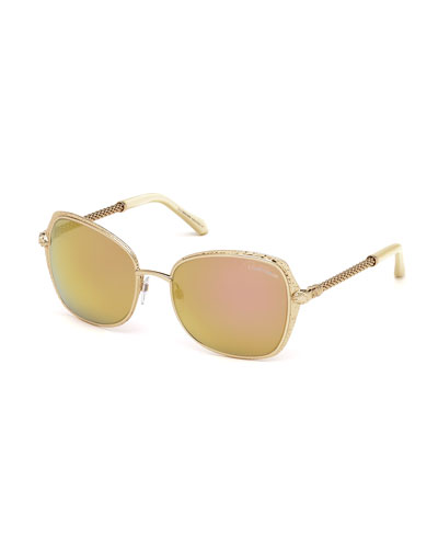 Oversize Square Sunglasses, Rose Gold